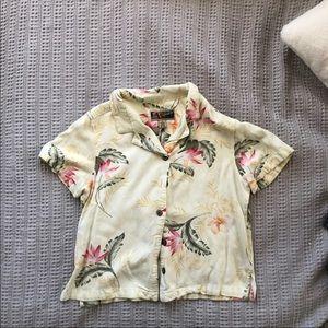 Yellow Hawaiian floral button shirt top m